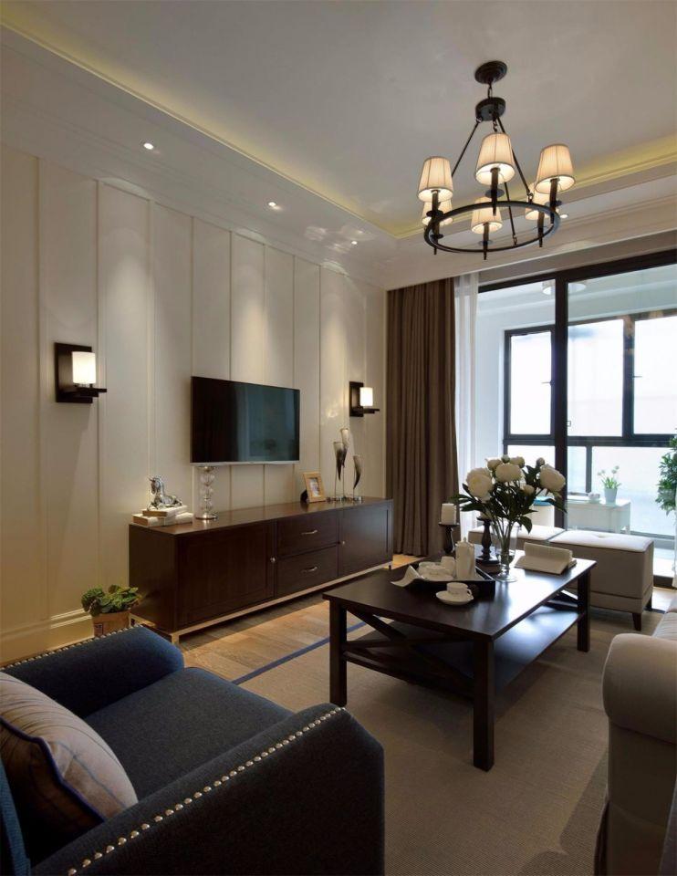 客厅电视柜美式风格装潢设计图片