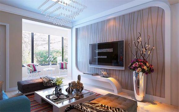 客厅电视背景墙现代简约风格效果图