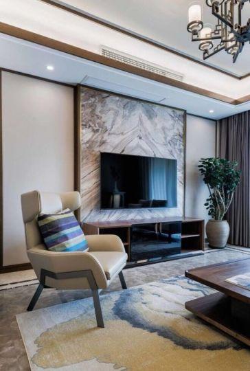 客厅电视柜新中式电视墙装饰实景图