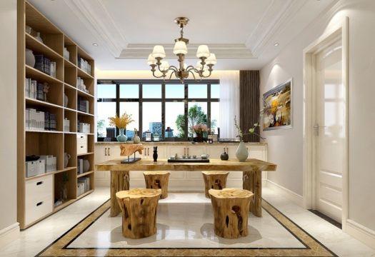 美式書房根雕茶幾裝修設計