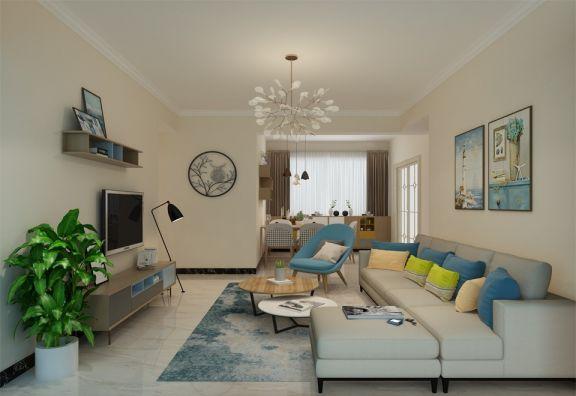 现代简约风格100平米三室两厅新房装修效果图