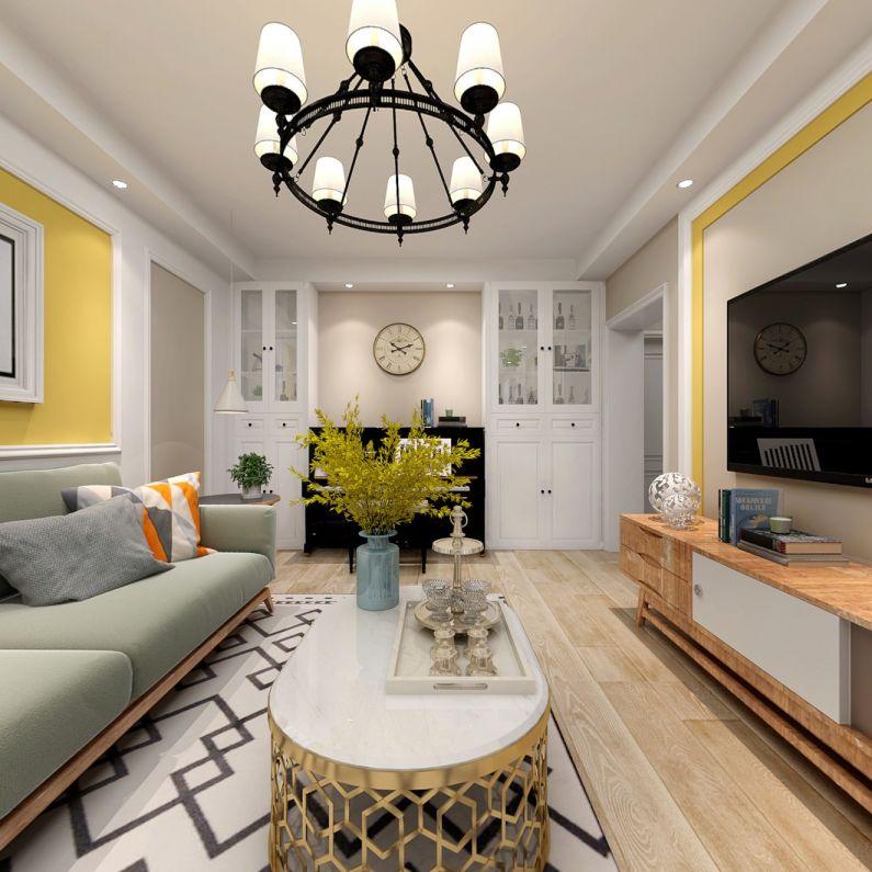 美式风格80平米公寓室内装修效果图