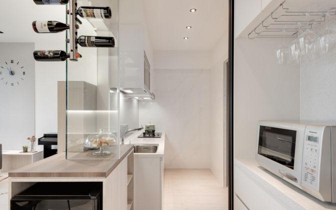 厨房米色背景墙简约风格装潢效果图