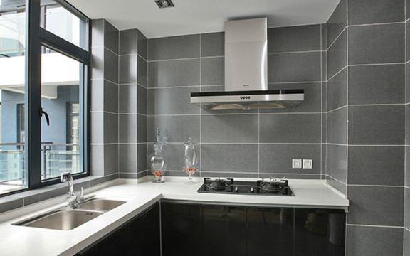 厨房灰色背景墙后现代风格装饰图片