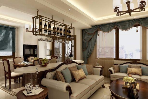 歐式客廳窗簾設計圖欣賞