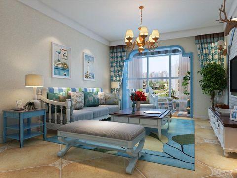 客厅蓝色沙发地中海风格装饰图片