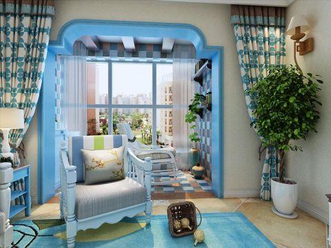 客厅蓝色窗帘地中海风格装修设计图片