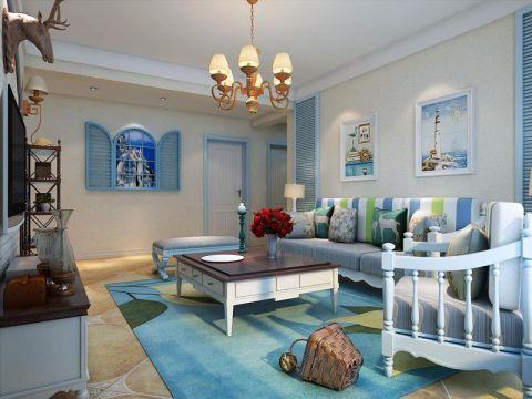 客厅米色背景墙地中海风格装饰设计图片