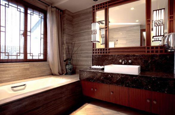 新中式门窗卫生间洗漱台图片