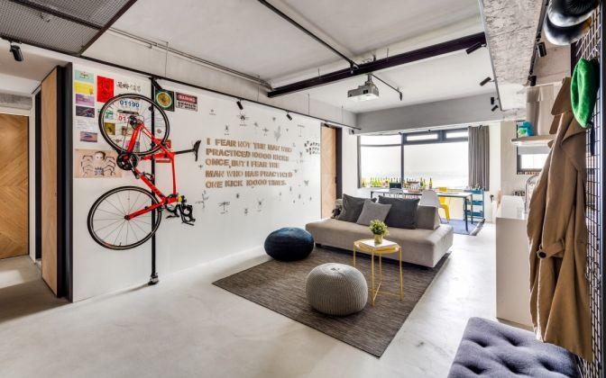 混搭风格80平米一居室室内装修效果图