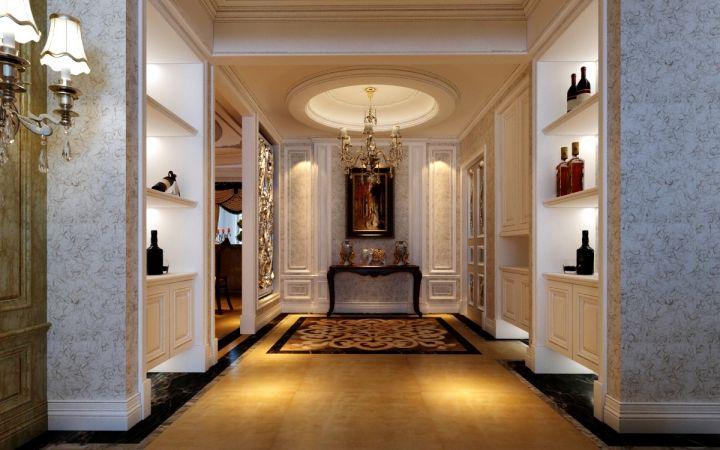 玄关橙色走廊现代欧式风格装潢图片