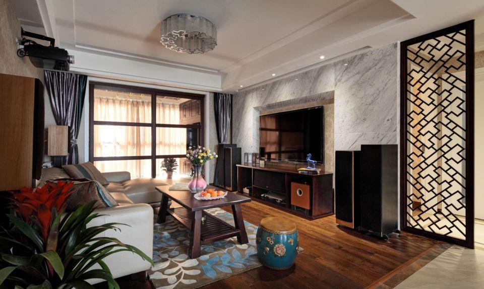 中式風格110平米兩室兩廳新房裝修效果圖