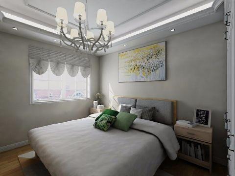 卧室灰色床田园风格装潢效果图