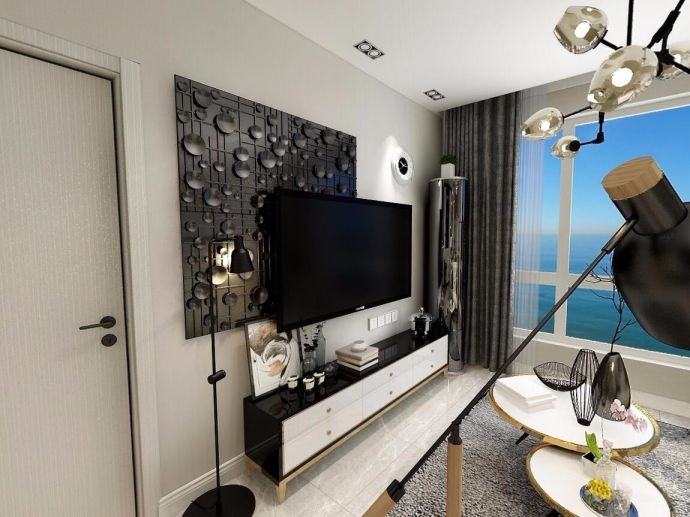 现代简约风格50平米一居室室内装修效果图