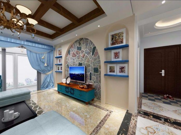 92平地中海风格两居室装修效果图