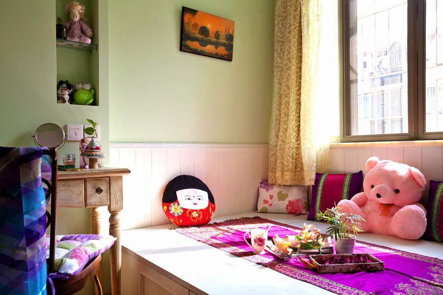 大氣綠色臥室兒童床室內裝飾