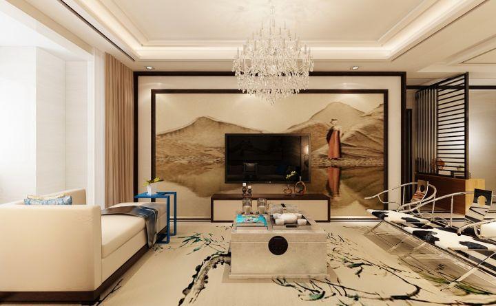 文艺客厅新中式电视墙装修实景图