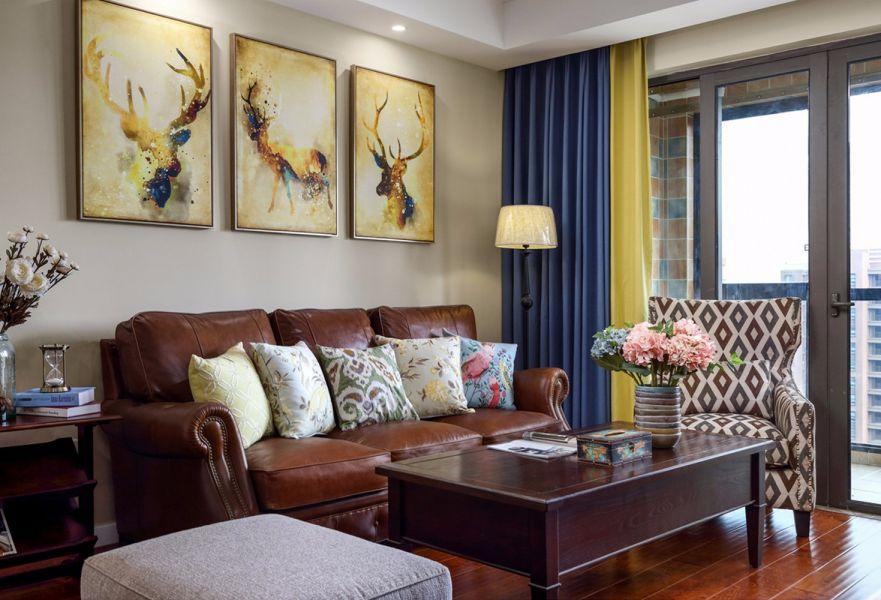 140平美式风格三居室装修效果图