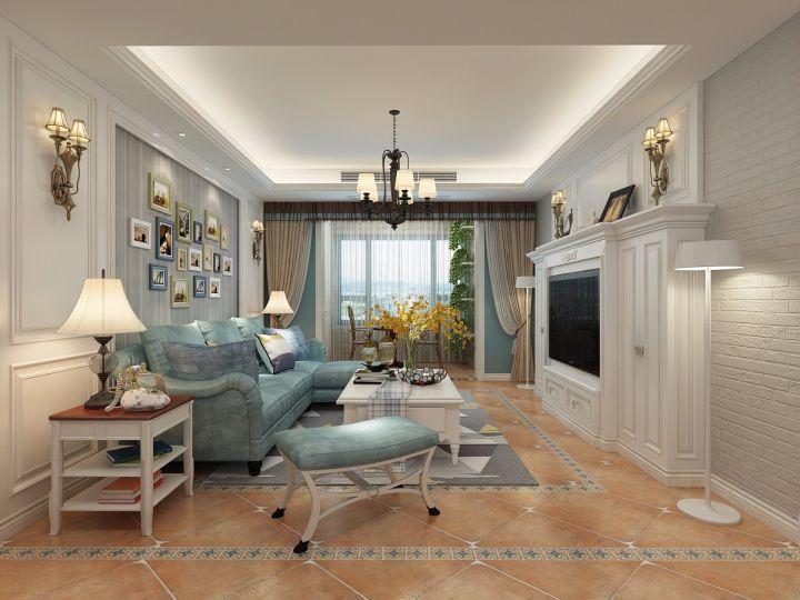109平美式风格三居室装修效果图