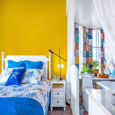 卧室背景墙地中海u乐娱乐平台实景图