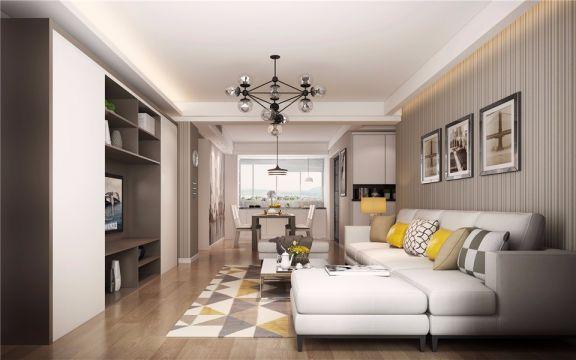 93平现代简约风格三居室装修效果图