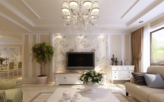 歐式客廳電視柜裝修案例圖片