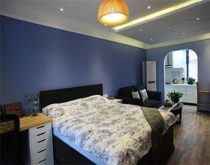 臥室藍色背景墻地中海風格裝潢圖片