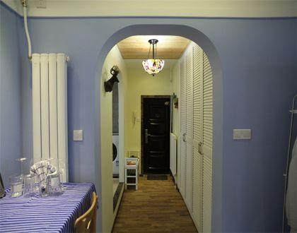 餐廳紫色背景墻地中海風格裝飾設計圖片
