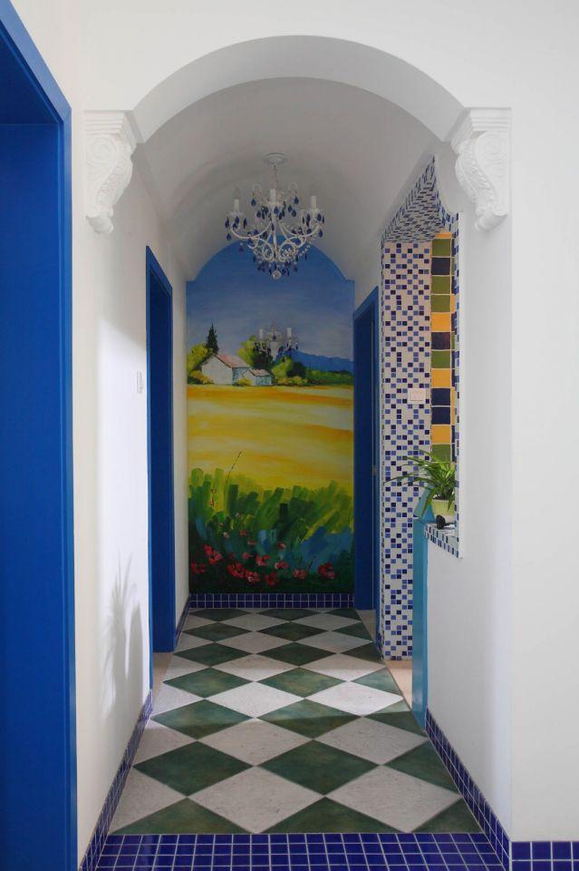 玄關彩色走廊地中海風格裝潢效果圖