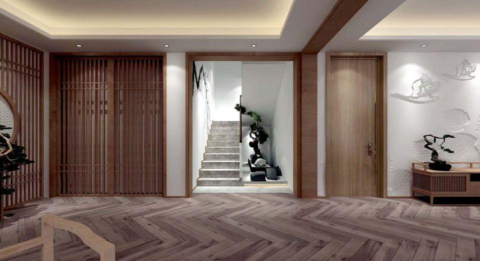 大气新中式灰色楼梯构造图