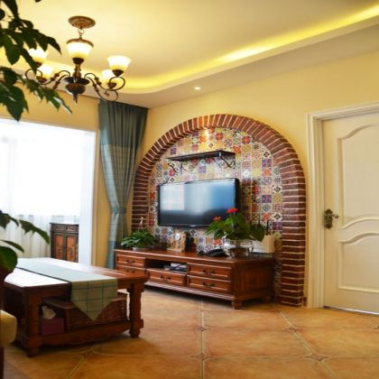 文艺客厅美式实木家具室内装饰