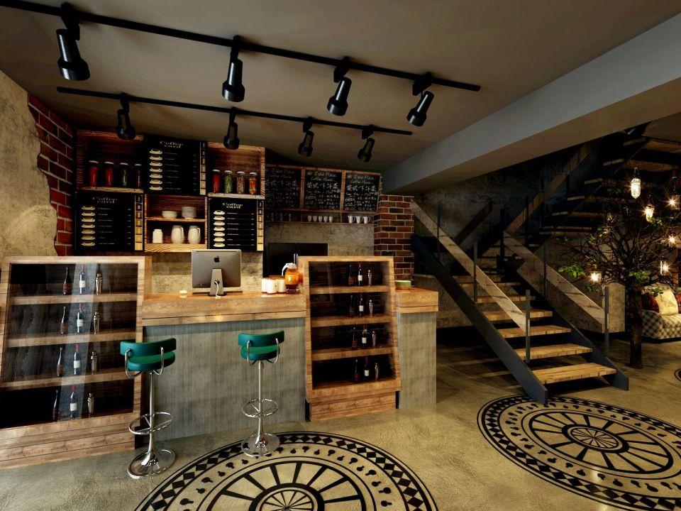 300平田园风格咖啡厅装修效果图