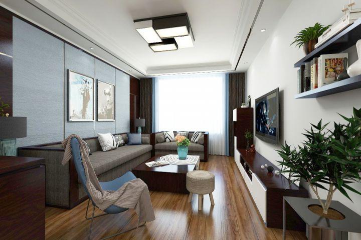 136平简中风格三居室装修效果图
