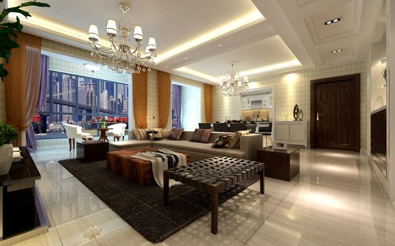 82平简欧风格两居室装修效果图
