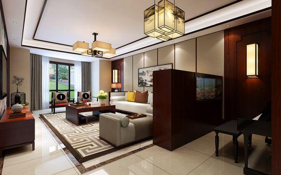 103平新中式风格三居室装修效果图