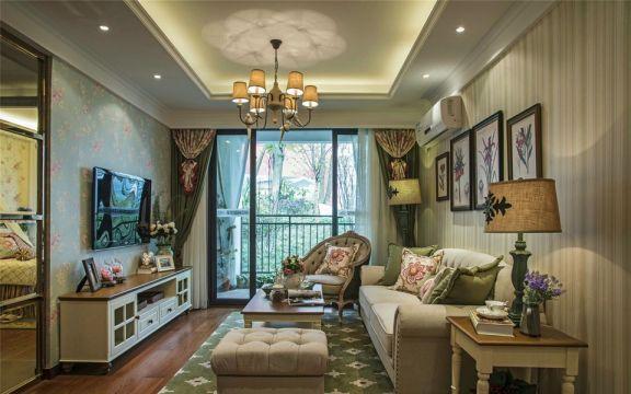 73平田园风格两室一厅装修效果图