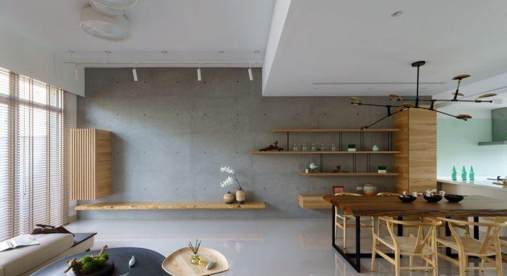 客厅背景墙日式风格装饰图片