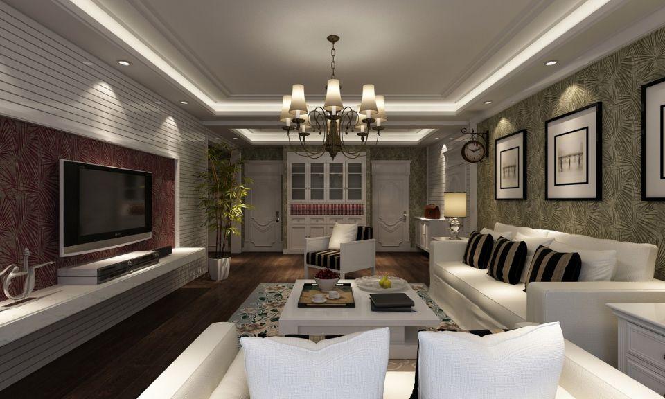 客厅白色沙发田园U乐国际装潢图片