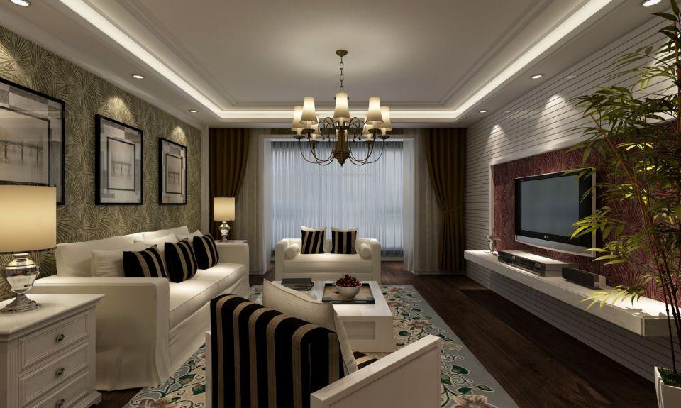 客厅绿色背景墙田园U乐国际u乐娱乐平台设计图片