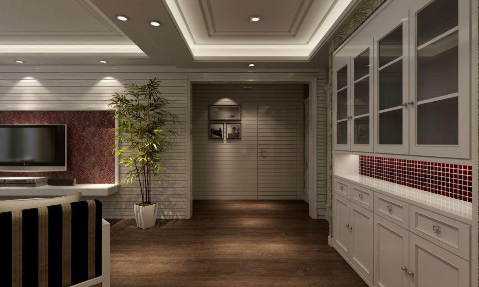 客厅咖啡色地砖田园U乐国际装饰设计图片