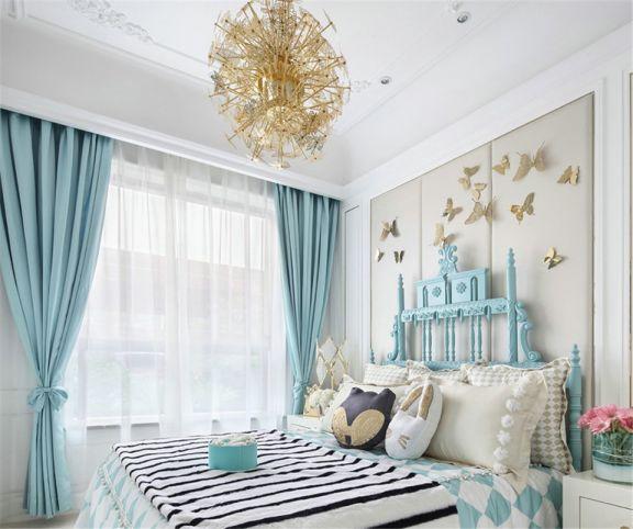 寫意藍色臥室兒童床裝修美圖
