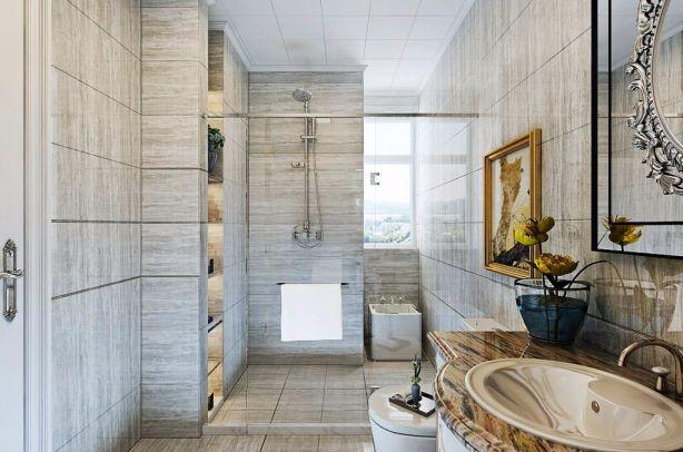 卫生间灰色地砖简欧U乐国际u乐娱乐平台设计图片