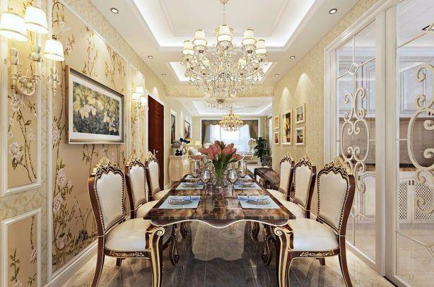餐厅咖啡色餐桌简欧U乐国际装饰设计图片