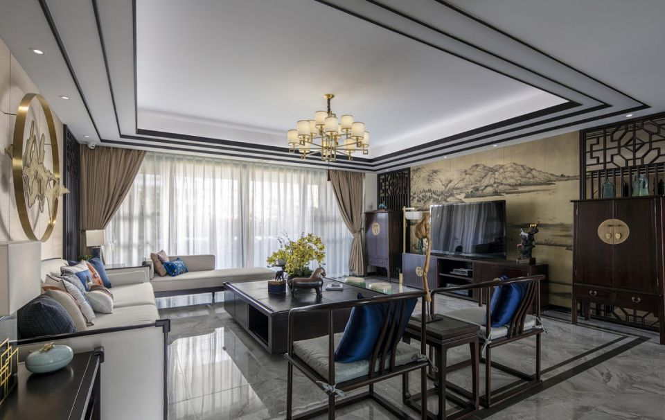 新中式电视墙客厅窗帘装修设计