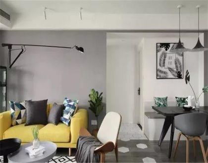 客廳背景墻北歐風格裝修圖片