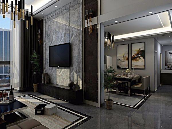 客廳電視柜簡歐風格裝潢圖片