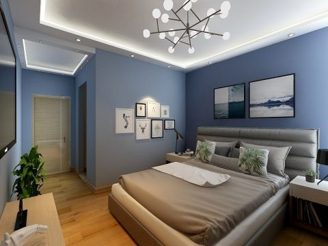 臥室背景墻簡歐風格裝修設計圖片