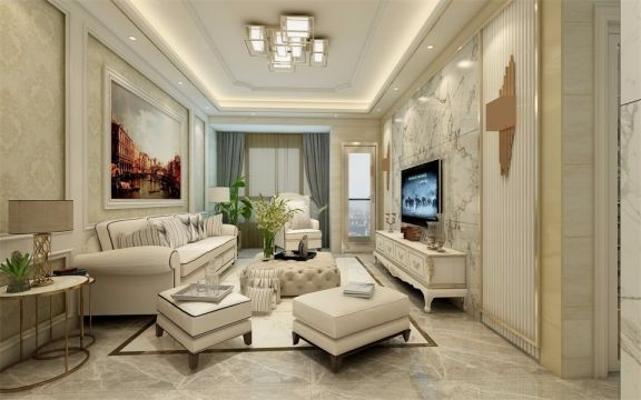 140平簡歐風格三居室裝修效果圖