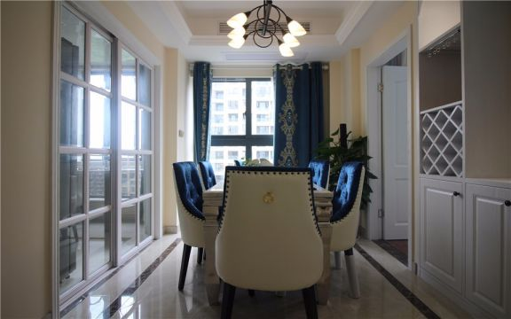 餐廳窗簾美式風格裝飾設計圖片