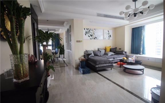 客廳背景墻美式風格裝潢設計圖片